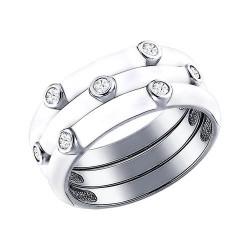 Кольцо наборное из серебра с эмалью с фианитами