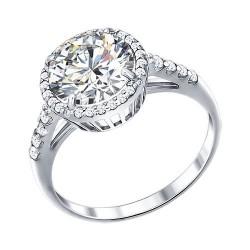 Белое серебряное кольцо с фианитами