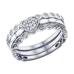 Серебряное наборное кольцо с фианитами