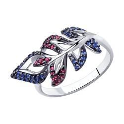 Кольцо из серебра с красными и синими фианитами