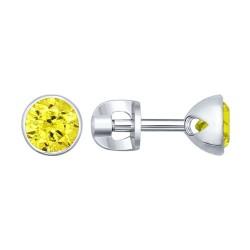Серьги-пусеты из серебра с жёлтыми фианитами