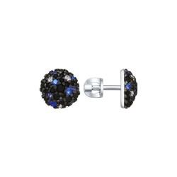 Серьги из серебра с бесцветными, синими и чёрными фианитами