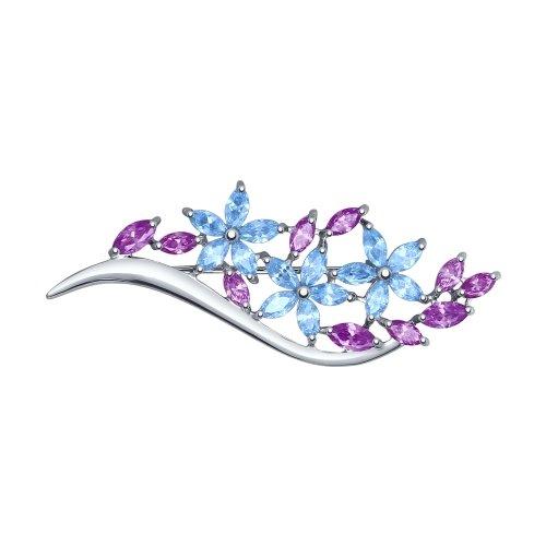 Брошь из серебра с голубыми и сиреневыми фианитами