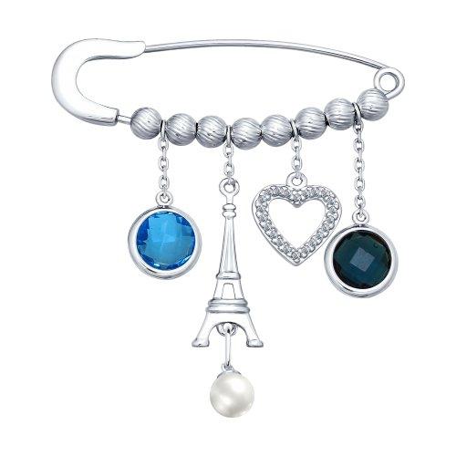 Брошь из серебра с жемчугом, голубым и синим стеклянными вставками и фианитами