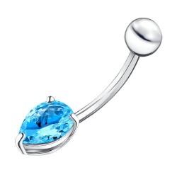 Пирсинг в пупок из серебра c каплевидным голубым фианитом