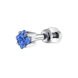 Серьги одиночные из серебра с голубым фианитом