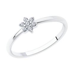 Кольцо из серебра с родированием с фианитами