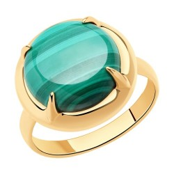 Кольцо из золочёного серебра с малахитом