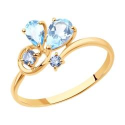 Кольцо из золота с топазами и фианитами
