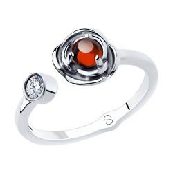 Кольцо из чернёного серебра с гранатом и фианитом
