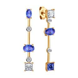 Серьги из золота с искусственно выращенными бриллиантами и топазами Swarovski
